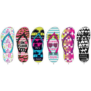 Wholesale Women's Verbiage Printed Basic Flip Flops (1 Case)