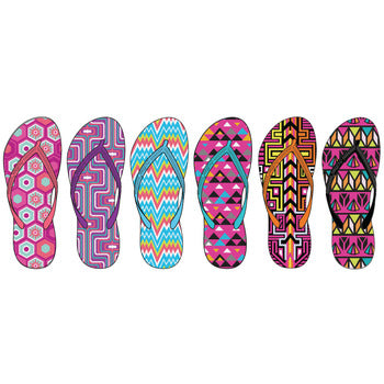Wholesale Women's Geometric Inspired Basic Flip Flops (1 Case)