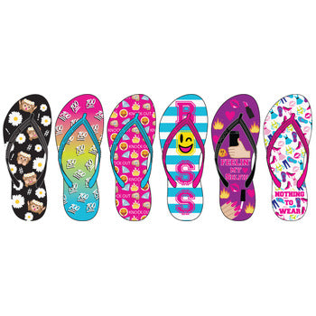 Wholesale Women's Expressions Printed Basic Flip Flops (1 Case)