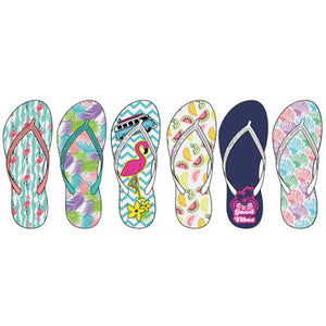 9059ba5770514 Wholesale Women s Assorted Tropical Print Flip Flops (1 Case ...