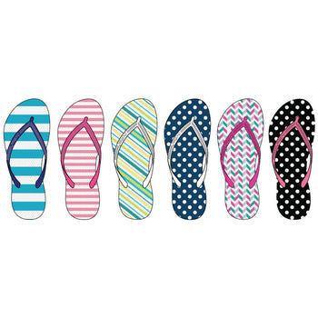 Wholesale Women's Assorted Stripe and Dot Print Flip Flops (1 Case)