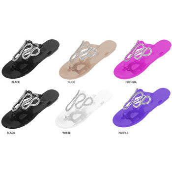Wholesale Women's Jelly Thongs With Rhinestone Embellishment (1 Case)