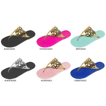 Wholesale Women's Jelly Thong Sandals with Metallic Cutout (1 Case)