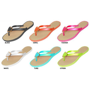 Wholesale Women's Bright PCU Flip Flops with Heart Ornament (1 Case)