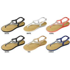 Wholesale Women's T-Strap Pcu Sandal (1 Case)