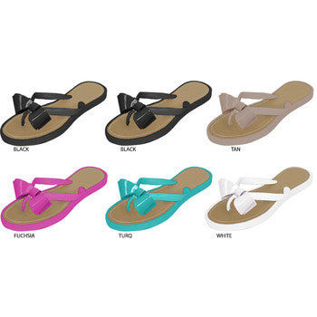 Wholesale Women's Thong Sandals with Bow (1 Case)