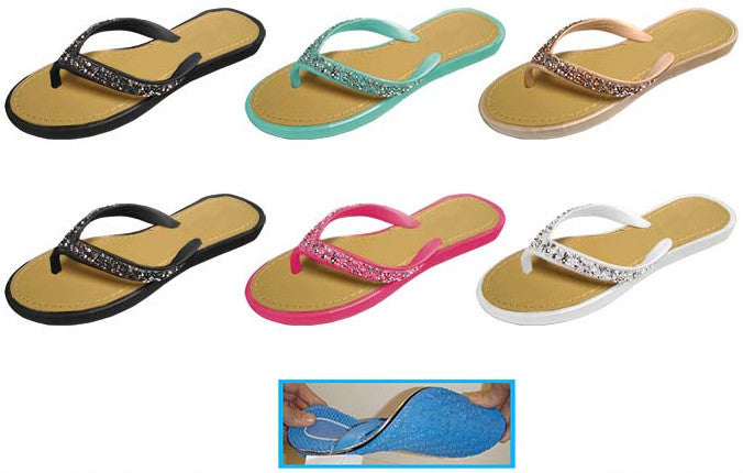 Wholesale Women's Thong Sandals with Rock Glitter (1 Case)