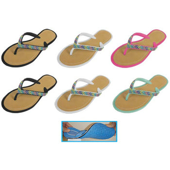 Wholesale Women's Thong Sandals with Beads (1 Case)