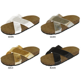 Wholesale Women's Footbed Sandals with Metallic Patent Upper (1 Case)