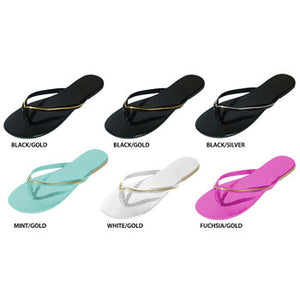 Wholesale Women's Thong Sandals With Metallic Stripe (1 Case)