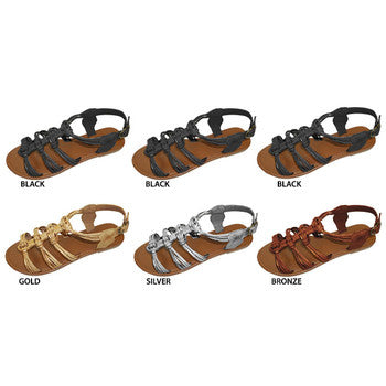 Wholesale Women's Metallic Gladiator Sandals (1 Case)