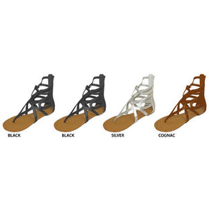 Wholesale Women's Gladiator Sandals With Back Zipper (1 Case)