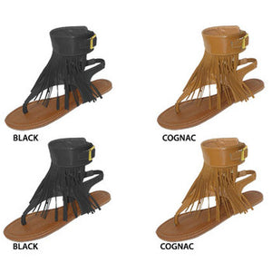 Wholesale Women's Fringe Sandals With Buckle Ankle Cuff (1 Case)