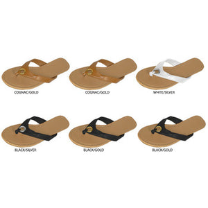 Wholesale Women's Thong Sandals with Metal O-Ring (1 Case)