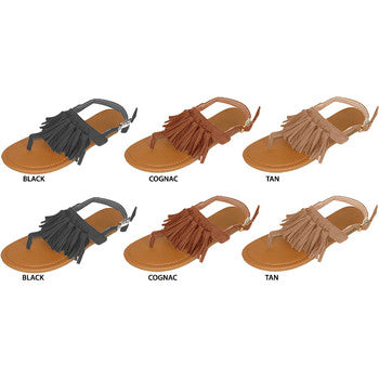 Wholesale Women's Microsuede Tassel Sandals (1 Case)