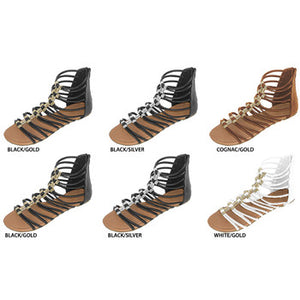 Wholesale Women's PU Gladiator Sandals with Metal Accents (1 Case)
