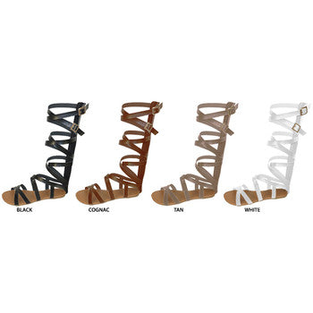 Wholesale Women's Strappy Pu Gladiator Sandals (1 Case)