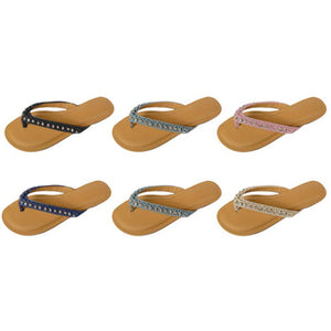 Wholesale Women's Denim Thong Sandals with Frayed Edges and Rhinestones (1 Case)