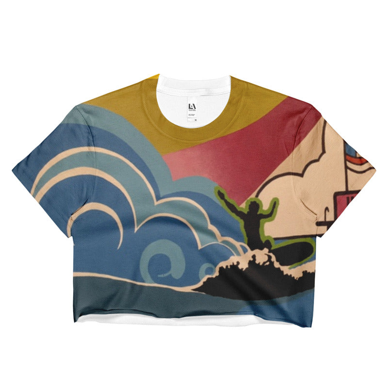 SURFS UP CROP TOP BOYFRIEND SHIRT