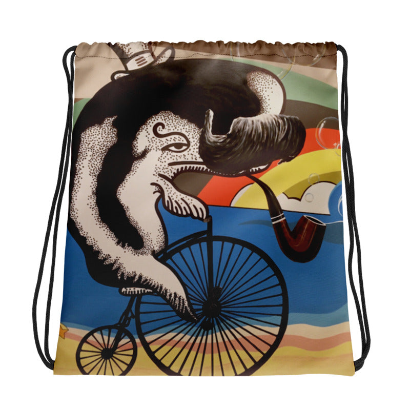 Wheelin Whale Drawstring Bag