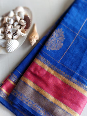 Royal blue chanderi with golden checks and contrasting borders- Naayaab - EthnicRoom