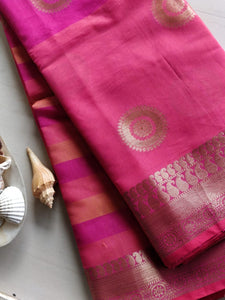 Chanderi saree with stripes at above and circular motifs - EthnicRoom