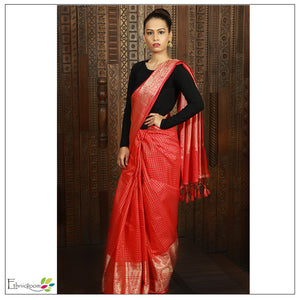 Rust orange chanderi saree with allover zari checks heavy zari border, aanchal and blouse - EthnicRoom
