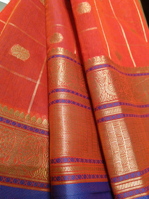 Red chanderi saree with allover golden zari checks with butties - EthnicRoom