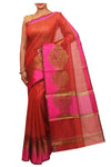 Beautiful gold zari design on border of red sari - EthnicRoom