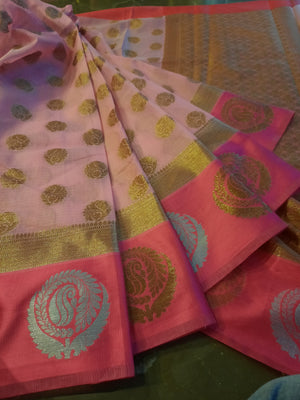 Dark Pink kota saree with golden and silver motifs on pink border and golden booties all over