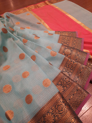 Sea blue kota saree with golden zari weaving on olive green border and golden booties all over