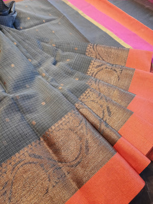 Grey Kota saree with golden and orange border and golden booties all over