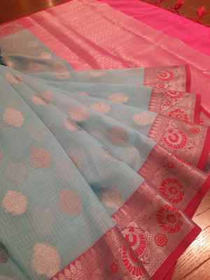 Sea blue kota saree with silver zari weaving on pink border and silver booties all over