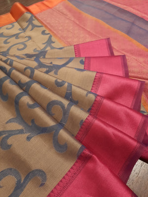 Light brown kota saree with blue jaal all over and pink and orange border