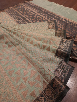 Light green Kota saree with golden booties all over and golden zari weaving on bottle border
