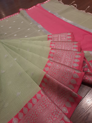 Light green kota saree with silver zari weaving