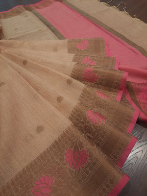 Yellowish golden kota saree with golden zari weaving and golden booties all over