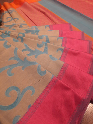 Brown kota saree with sea blue jaal allover and pink border