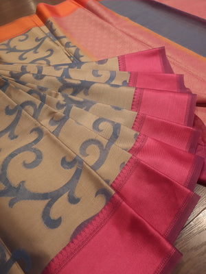 Brown kota saree with ink blue jaal overall and pink border