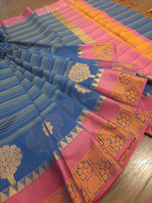 Blue and grey line chanderi saree with golden motifs and pink and orange border