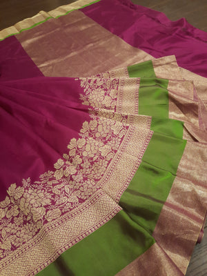 Maroon katan silk saree with golden zari weaving and green border