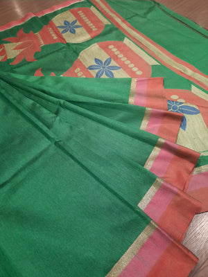 Green chanderi saree with golden,pink and red border