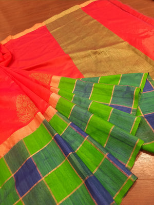 Multicolor katan tusser silk saree with golden booties all over
