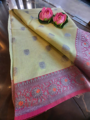 Pista green kota saree with silver zari weaving on pink border and silver booties all over