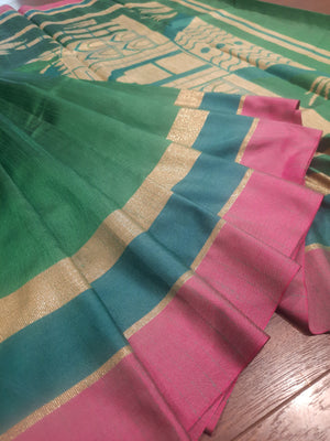 Green chanderi saree with golden, bottle green and pink border