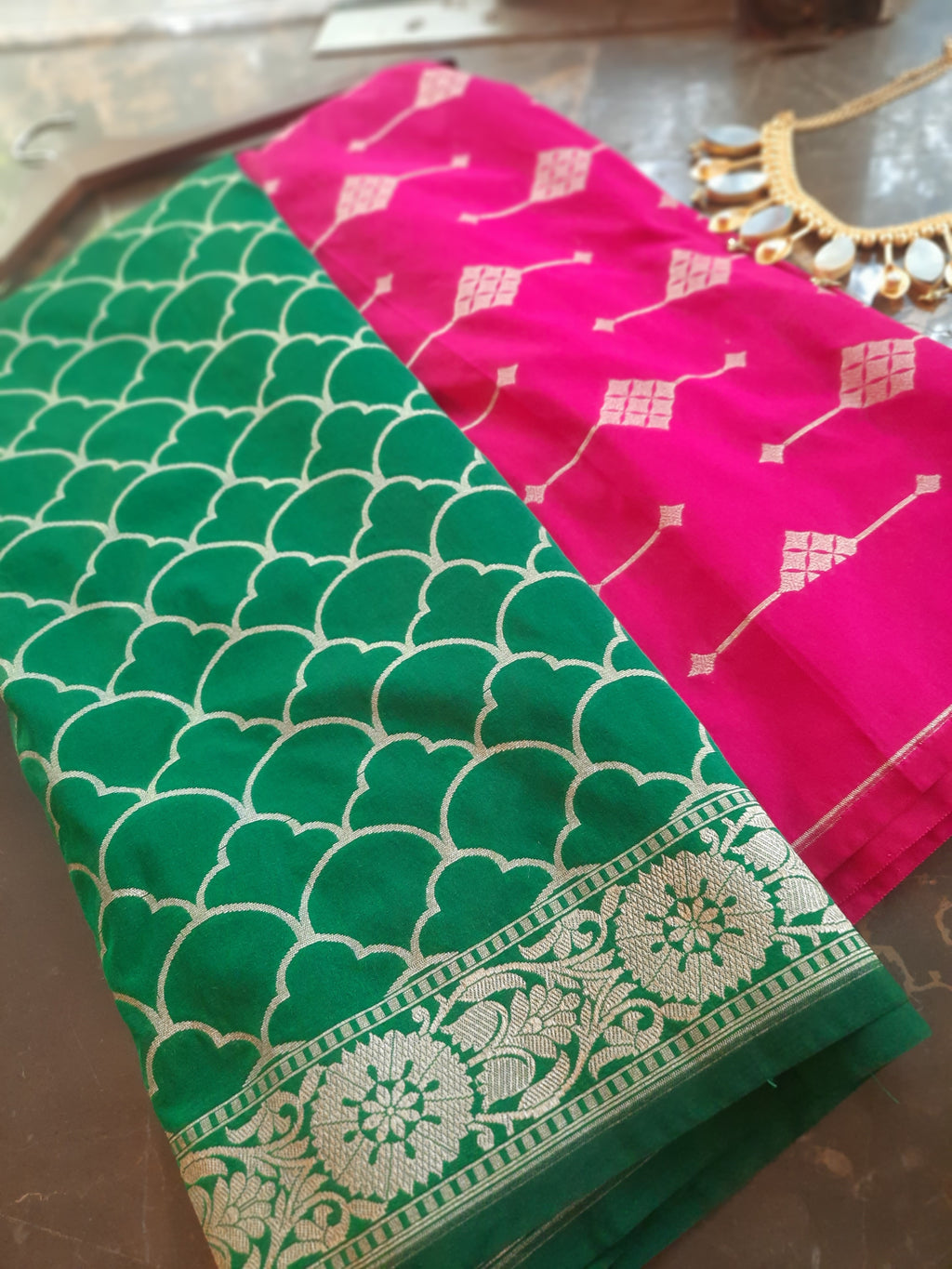 Dark pink silk suit material with green  brocade dupatta