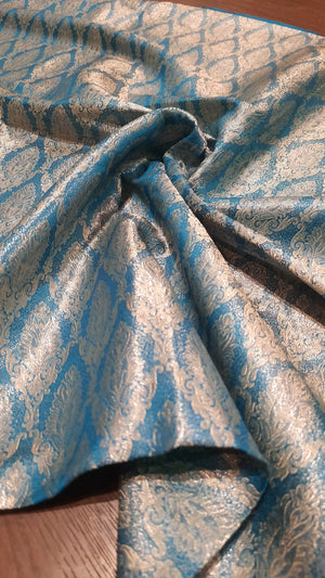 Blue pure silk blouse fabric with silver weaving allover