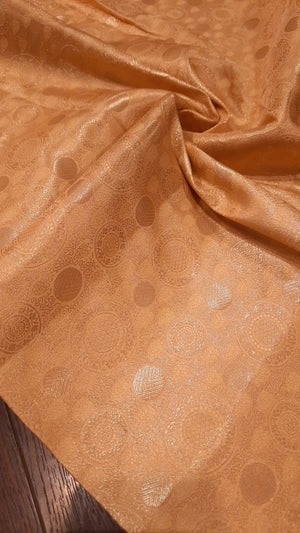 Yellow pure silk blouse fabric with golden motifs allover