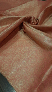 Pink pure silk blouse fabric with golden motifs all over