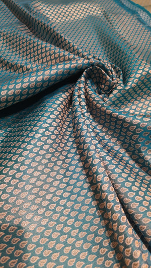 Blue pure silk blouse fabric with silver motifs all over